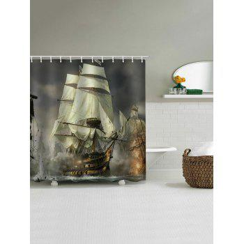 Ship Battle Print Waterproof Shower Curtain - multicolor W71 INCH * L79 INCH