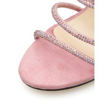Rhinestone Strap High Heel Pumps - LIGHT PINK 38