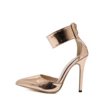 Pointed Toe Zip Back Stiletto Heel Pumps - GOLD 38