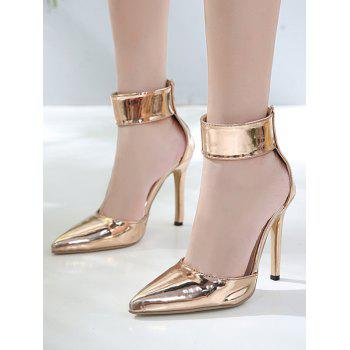 Pointed Toe Zip Back Stiletto Heel Pumps - GOLD 40