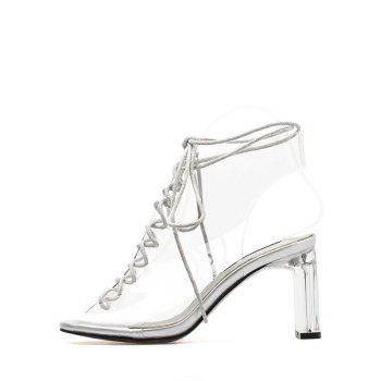 Block Heel Transparent Lace Up Hollow Out Sandals - WHITE 37