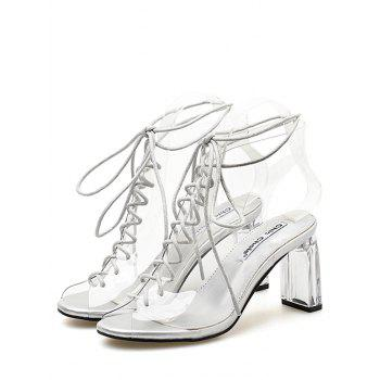 Block Heel Transparent Lace Up Hollow Out Sandals - WHITE 38