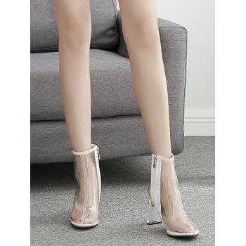 Chic High Heel Clear PVC Ankle Boots - WHITE 37