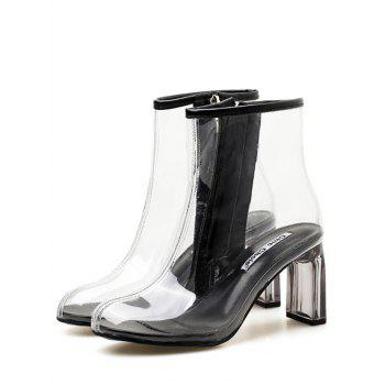 Chic High Heel Clear PVC Ankle Boots - BLACK 36