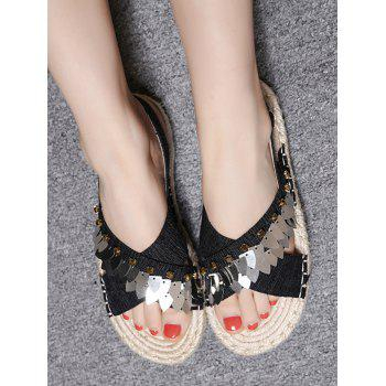 Studs Flat Heel Metal Sequins Cross Strap Slingback Sandals - BLACK 38