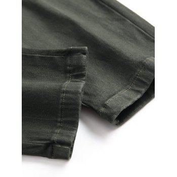 Multi-pocket Stretchy Zippers Biker Jeans - ARMY GREEN 34