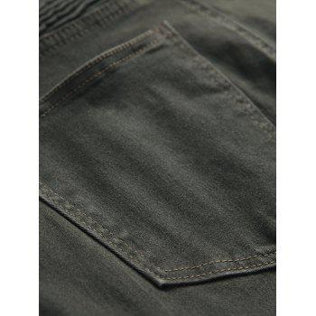 Multi-pocket Stretchy Zippers Biker Jeans - ARMY GREEN 36