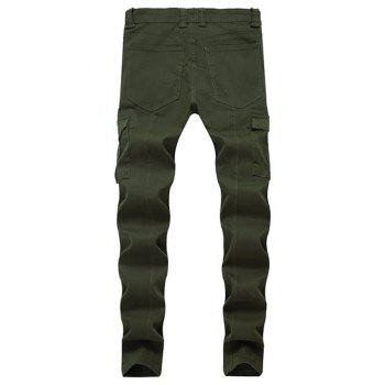Fit Zip Fly Pockets Jeans - ARMY GREEN 40