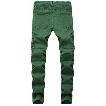 Multi-pocket Stretchy Zippers Biker Jeans - SEAWEED GREEN 34