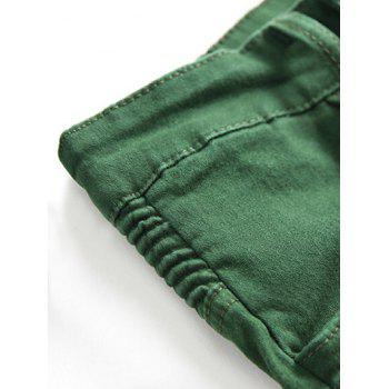 Multi-pocket Stretchy Zippers Biker Jeans - SEAWEED GREEN 38