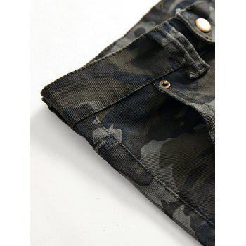 Fit Zip Fly Pockets Jeans - CAMOUFLAGE GREEN 34