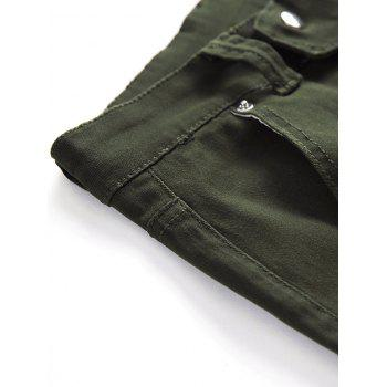 Fit Zip Fly Pockets Jeans - ARMY GREEN 34