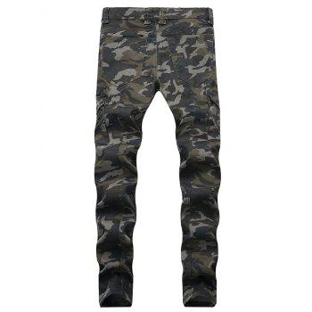 Fit Zip Fly Pockets Jeans - CAMOUFLAGE GREEN 38