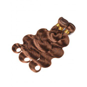 Real Human Hair Body Wave Hair Wefts - BROWN 14INCH*14INCH*14INCH