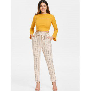 Elastic Waist Plaid Pants with Belt - BEIGE L