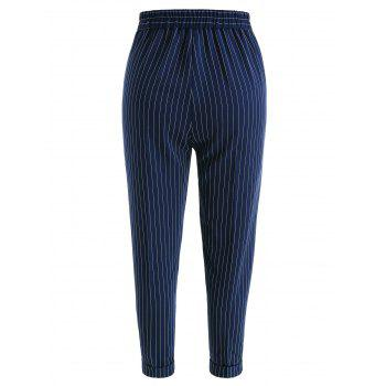Front Pockets Striped Pants - BLUE S