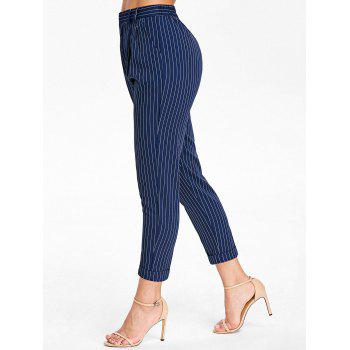 Front Pockets Striped Pants - BLUE XL