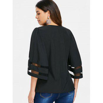 V Neck Plain Blouse - BLACK XL