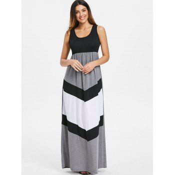 Floor Length Color Block Dress - multicolor XL