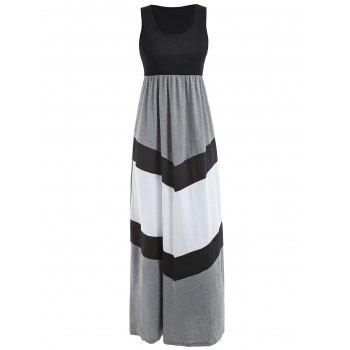 Floor Length Color Block Dress - multicolor M