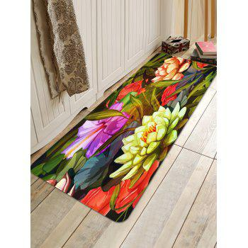 Coral Fleece Flower Print Skidproof Area Mat - multicolor W24 INCH * L71 INCH