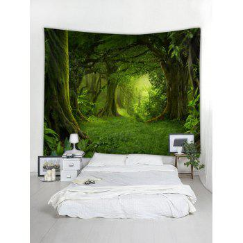 Forest Pattern Wall Tapestry Decoration - SEAWEED GREEN W59 INCH * L59 INCH
