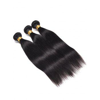 3Pcs Indian Real Human Hair Straight Hair Weaves - BLACK 12INCH*12INCH*12INCH
