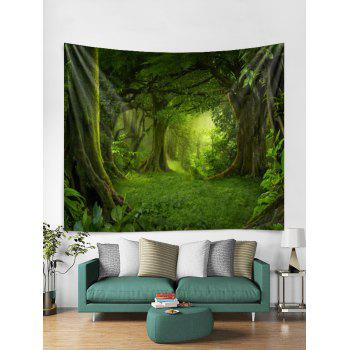 Forest Pattern Wall Tapestry Decoration - SEAWEED GREEN W59 INCH * L51 INCH