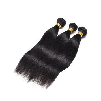 3Pcs Indian Real Human Hair Straight Hair Weaves - BLACK 24INCH*24INCH*24INCH