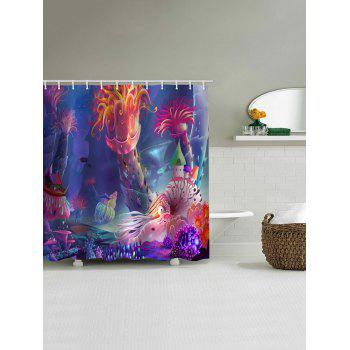 Cartoon Underwater World Printed Waterproof Bath Curtain - multicolor W71 INCH * L79 INCH