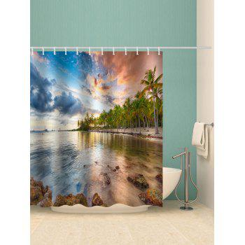 Sunset Glow Lake Printed Waterproof Bath Curtain - multicolor W71 INCH * L71 INCH