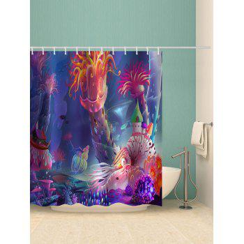 Cartoon Underwater World Printed Waterproof Bath Curtain - multicolor W71 INCH * L71 INCH