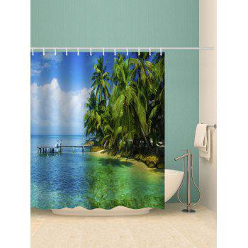 Coconut Palm Print Waterproof Bathroom Curtain - GREEN W71 INCH * L71 INCH