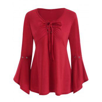 Grommet Flared Sleeve Top - RED S