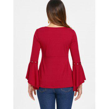 Grommet Flared Sleeve Top - RED XL