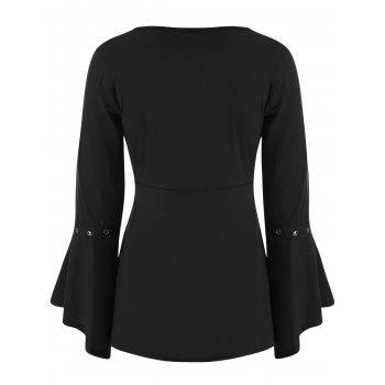 Grommet Flared Sleeve Top - BLACK S