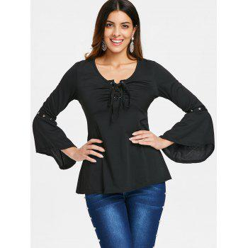 Grommet Flared Sleeve Top - BLACK XL