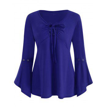 Grommet Flared Sleeve Top - COBALT BLUE L