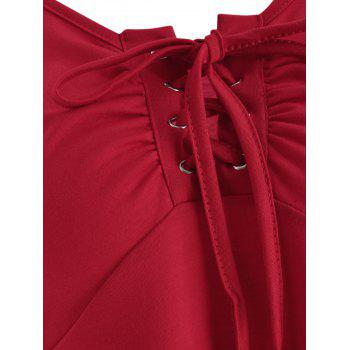 Grommet Flared Sleeve Top - RED M