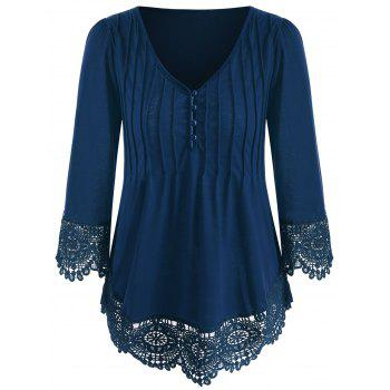 Cutwork Lace V Neck Top - BLUE JAY M