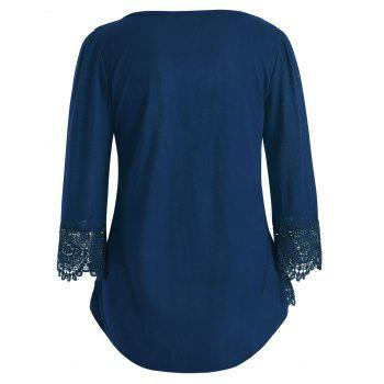 Cutwork Lace V Neck Top - BLUE JAY 2XL