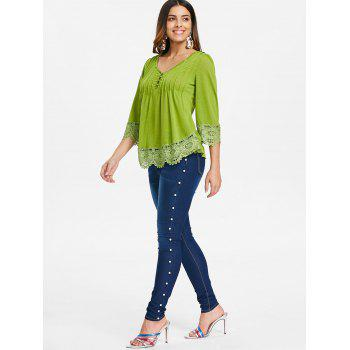 Cutwork Lace V Neck Top - GREEN ONION M