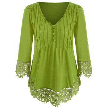 Cutwork Lace V Neck Top - GREEN ONION L