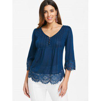 Cutwork Lace V Neck Top - BLUE JAY XL