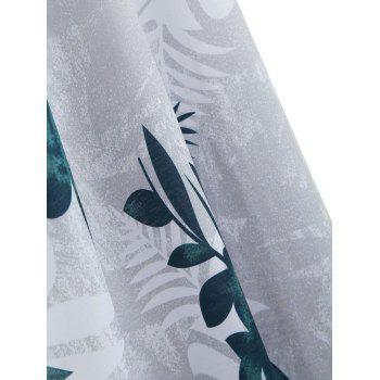 Leaf Print Floor Length Dress - GREEN S