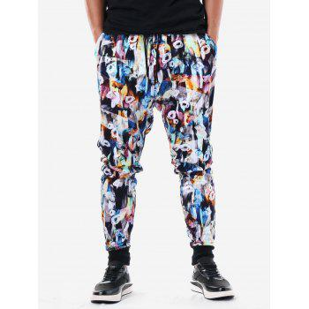 Drawstring Waist Allover Flower Pants Pants - multicolor L