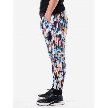 Drawstring Waist Allover Flower Pants Pants - multicolor 2XL