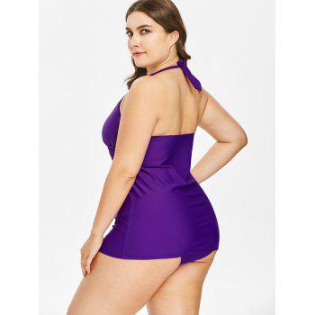 Plus Size High Waist Halter Neck Tankini Set - PURPLE 4X