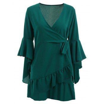 Low Cut Flounce Overlap Dress - DEEP GREEN M