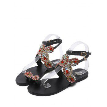 Dazzling Crystals Butterfly Pattern Ankle Strap Sandals - BLACK 38